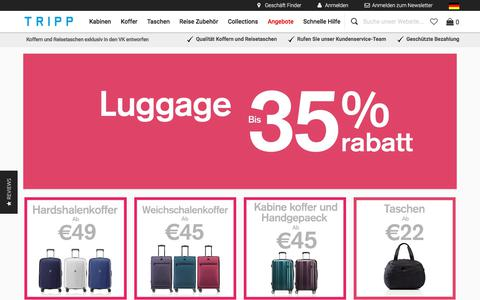 Screenshot of Home Page tripp-gepack.de - Tripp Luggage | Suitcases, Cabin Cases and Travel Bags | Tripp Deutschland - captured June 29, 2018
