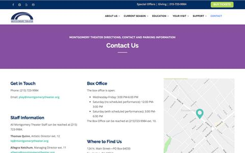 Screenshot of Contact Page Maps & Directions Page montgomerytheater.org - Contact, Directions and Parking | Montgomery Theater - captured Sept. 20, 2018