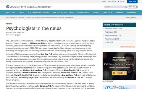 Screenshot of Team Page apa.org - Psychologists in the news: February 2018 - captured Feb. 25, 2018