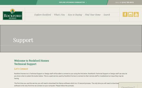 Screenshot of Support Page rockfordhomes.net - Support | Rockford Homes - captured June 15, 2017