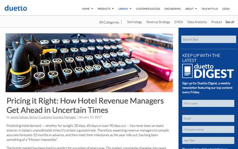 Screenshot of Pricing Page duettocloud.com - Pricing it Right: How Hotel Revenue Managers Get Ahead in Uncertain Times - captured Jan. 6, 2020