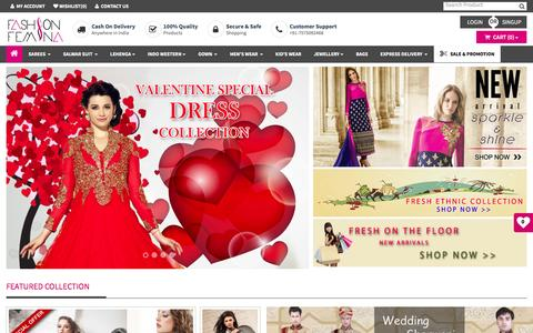 Screenshot of Home Page fashionfemina.com - Women Clothing Store India, Shopping Clothes Online For Ladies | Fashionfemina.com - captured Feb. 9, 2016