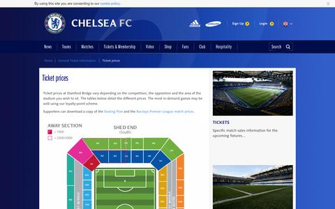 Screenshot of Pricing Page chelseafc.com - Ticket prices - captured Sept. 18, 2014