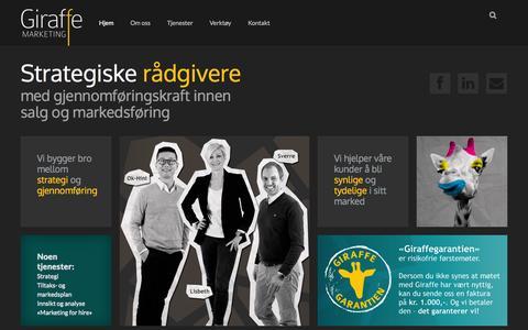 Screenshot of Home Page giraffe.no - Giraffe Marketing | Rådgivere med gjennomføringskraft! - captured Oct. 2, 2014