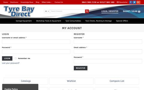 Screenshot of Login Page tyrebaydirect.com - My Account Dashboard on Tyre Bay Direct - captured Feb. 2, 2018