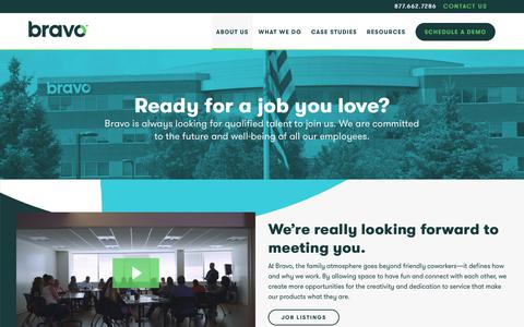 Screenshot of Jobs Page bravowell.com - Career Opportunities in Corporate Wellness   Bravo - captured July 19, 2018