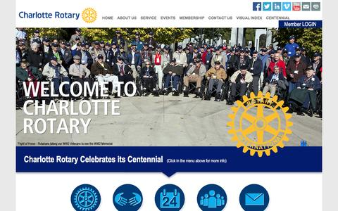 Screenshot of Home Page charlotterotary.org - Rotary Club of Charlotte - captured June 15, 2016