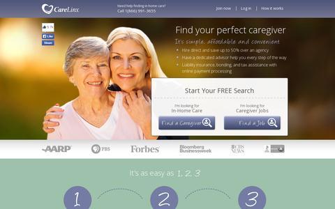 Screenshot of Home Page carelinx.com - Caregivers & Home Care – $15/hr & Up   CareLinx - captured July 11, 2014