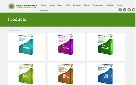 Screenshot of Products Page greenorchidsolutions.com - Products | Portfolio Categories | Green Orchid Software Solutions Pvt Ltd,  Iphone, Android Mobile Development, PHP ASP.net Web Development, Software Products - captured Jan. 23, 2016