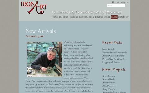 Screenshot of Blog ironart.co.uk - Blog | Ironart of Bath | Traditional & Contemporary Ironworkers based in Bath: Beautiful metal garden furniture, railings and bespoke structures, handmade in wrought iron. - captured Oct. 15, 2017