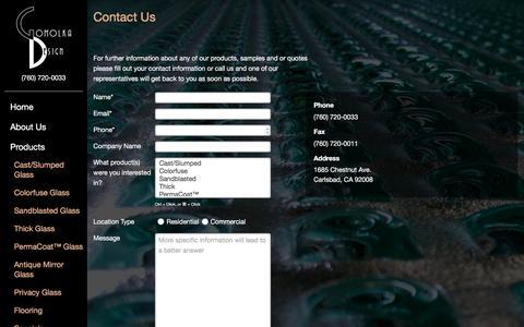 Screenshot of Contact Page experienceglass.com - Contact Us   Gomolka Design Studio - captured Jan. 31, 2016