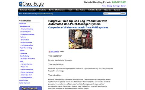 Screenshot of Case Studies Page cisco-eagle.com - Hargrove improves gas log production with AS/RS | Cisco-Eagle - captured Jan. 5, 2017