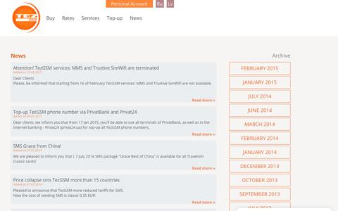 Screenshot of Press Page tezgsm.com - TezGSM Prepaid SIM-card - captured Oct. 20, 2018