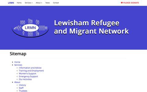 Screenshot of Site Map Page lrmn.org.uk - Sitemap - Lewisham Refugee and Migrant Network - captured July 5, 2017