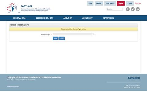 Screenshot of Signup Page caot.ca - Member Subscription - Personal Info - Canadian Association of Occupational Therapists | Association canadienne des ergothérapeutes - captured Oct. 27, 2017