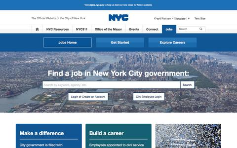Screenshot of Jobs Page nyc.gov - Jobs Home | City of New York - captured Sept. 25, 2018