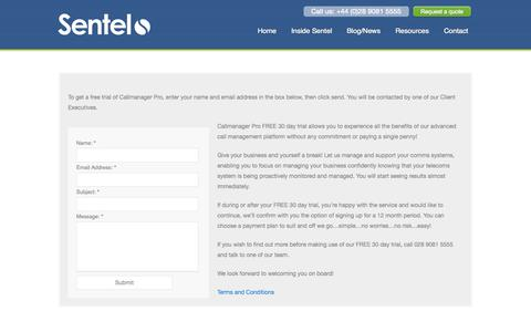 Screenshot of Trial Page sentel.co.uk - Free Trial | Telecommunications Expense Management - captured Oct. 7, 2014