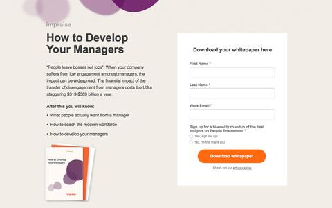 Screenshot of Landing Page impraise.com - White Paper: How to Develop Your Managers - captured Aug. 7, 2019