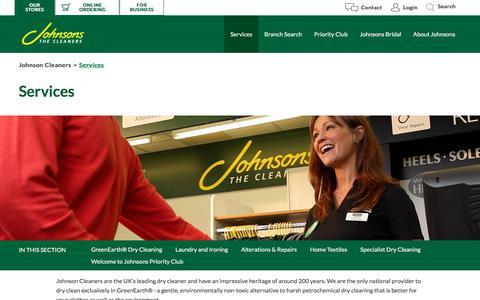 Screenshot of Services Page johnsoncleaners.com - Services | Johnson Cleaners - captured Sept. 22, 2018