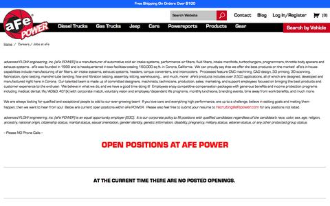 Screenshot of Jobs Page afepower.com - Careers / Jobs at aFe | Engineered Adrenaline - captured Sept. 6, 2016