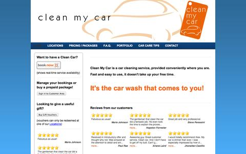 Screenshot of Home Page ecofriendlycarwash.net - Clean My Car  - Your on-site car cleaning and detailing service in the Greater Vancouver area - captured Jan. 17, 2015