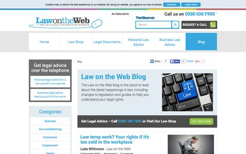 Screenshot of Blog lawontheweb.co.uk - Law on the Web Blog - advice, how-to guides, and more - captured Jan. 31, 2016