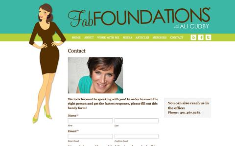 Screenshot of Contact Page fabfoundations.com - Contact - Fab Foundations®: Lingerie Industry Expertise - captured Sept. 30, 2014