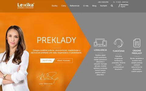 Screenshot of Home Page lexika.sk - Preklady textov, tlmočenie a lokalizácia - Lexika.sk - captured Dec. 6, 2015