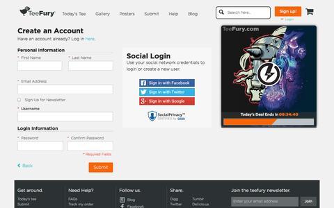 Screenshot of Signup Page teefury.com - Create New Customer Account | TeeFury - captured Oct. 26, 2014