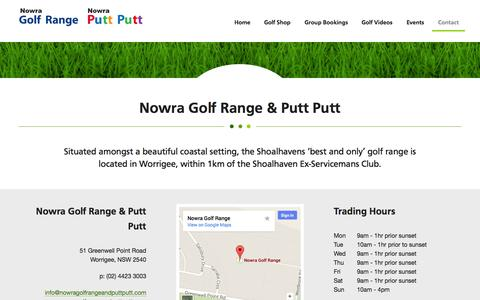 Screenshot of Contact Page nowragolfrangeandputtputt.com - Shoalhaven | Nowra | Worrigee - Nowra Golf Range & Putt Putt - captured Sept. 26, 2014