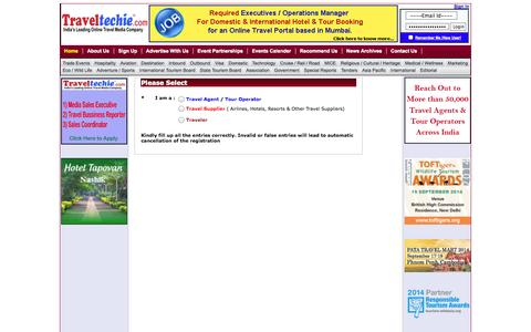 Screenshot of Signup Page traveltechie.com - India Travel News - Traveltechie.com - captured Sept. 24, 2014
