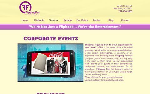 Screenshot of Services Page flippingfun.com - Flipping Fun Flipbooks | Services - captured Nov. 25, 2016