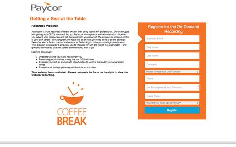 Screenshot of Landing Page paycor.com - Paycor Web Summit: Getting a Seat at the Table - captured Aug. 19, 2016