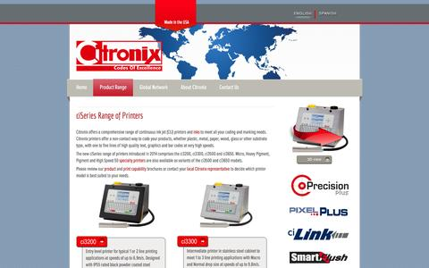 Screenshot of Products Page citronix.com - Citronix.com - Continuous Ink Jet Printers - ciSeries Range of Printers - captured April 4, 2016