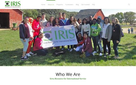 Screenshot of About Page iris-center.org - IOWA RESOURCE FOR INTERNATIONAL SERVICE     About Us - captured Feb. 11, 2016