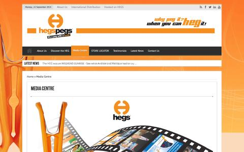 Screenshot of Press Page hegspegs.com - Media Centre | Hegs Pegs - Its a Peg with a Hook - captured Sept. 23, 2014