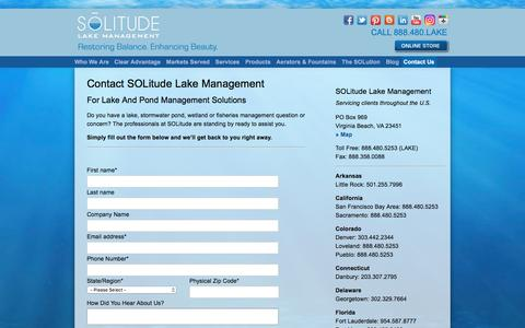 Screenshot of Contact Page solitudelakemanagement.com - Contact The Lake And Pond Management Professionals At SOLitude - captured July 26, 2018