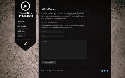 Screenshot of Contact Page skproductions.biz - SKP     Contact Us - captured Feb. 16, 2016