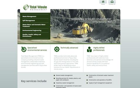 Screenshot of Home Page twm.com.pg - Total Waste Management - Papua New Guinea - Home - captured Oct. 7, 2014