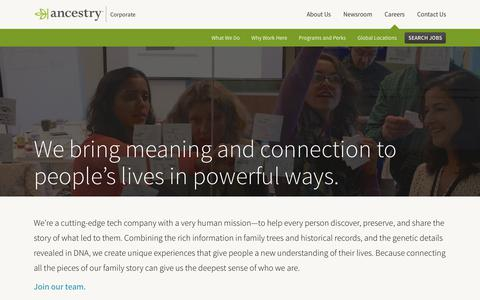 Screenshot of Jobs Page ancestry.com - What We Do | Ancestry Corporate - captured April 29, 2018