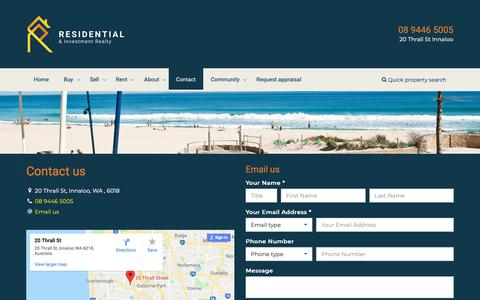 Screenshot of Contact Page residentialrealty.com.au - Residential Realty & Investment - Contact - captured Oct. 18, 2018