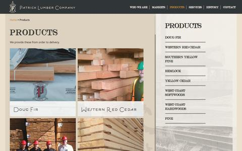 Screenshot of Products Page patlbr.com - Products | Patrick Lumber - captured Oct. 26, 2016