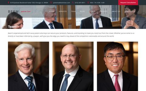 Screenshot of Team Page beemlaw.com - Team | Beem Patent Law: Chicago Patent Attorney & Lawyer - captured Oct. 5, 2018