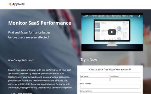 Screenshot of Landing Page appneta.com - Free SaaS App Performance - captured Aug. 25, 2016