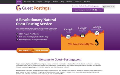Screenshot of Home Page guest-postings.com - Guest Posting Service - Guest Blogging at $22 Per Post Only - captured June 24, 2017
