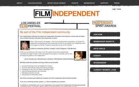 Screenshot of Support Page filmindependent.org - Support Us - Film Independent - captured Sept. 25, 2014