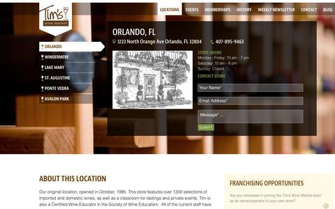 Screenshot of Locations Page timswine.com - Orlando - Tim's Wine Market - captured Oct. 19, 2018