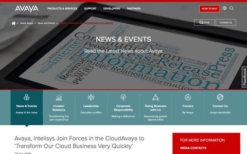 Screenshot of Press Page avaya.com - Avaya to 'Transform Our Cloud Business Very Quickly' - captured May 3, 2018