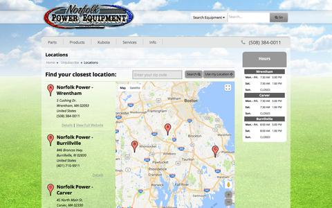 Screenshot of Locations Page norfolkpower.com - Locations Norfolk Power Equipment, Inc. - captured Oct. 26, 2017