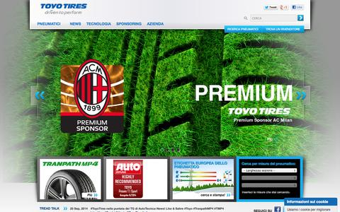 Screenshot of Home Page toyo.it - TOYO TIRES - Italia - captured Oct. 7, 2014
